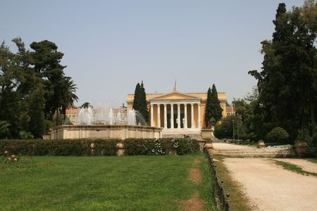 historical events: Facade of Zappeion building.  The Zappeion was used during the 1896 Summer Olympics as the main Fencing Hall. A decade later, at the 1906 Summer Olympics, it was used as the Olympic Village.  A number of historical events have taken place at the Zappeion, Stock Photo