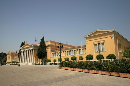 summer olympics: Facade of Zappeion building.  The Zappeion was used during the 1896 Summer Olympics as the main Fencing Hall. A decade later, at the 1906 Summer Olympics, it was used as the Olympic Village.  A number of historical events have taken place at the Zappeion, Stock Photo