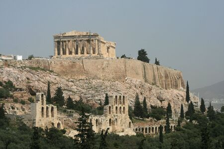 Greece - View of the acropolis from Phillopappou hill