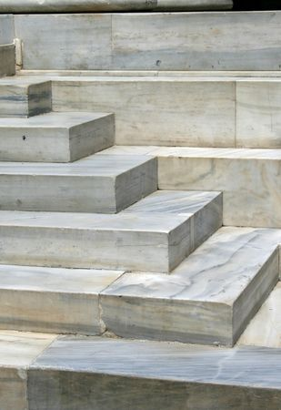 historical events: Detail of marble steps of Zappeion building.  The Zappeion was used during the 1896 Summer Olympics as the main Fencing Hall. A decade later, at the 1906 Summer Olympics, it was used as the Olympic Village.  A number of historical events have taken place  Stock Photo