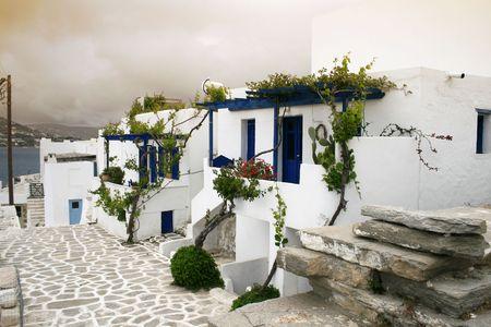 whitewashed: Whitewashed greek island homes. Paros, Greece