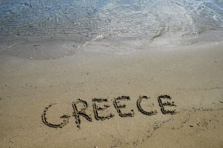 Playa de arena en la isla de Paros, Grecia  Foto de archivo