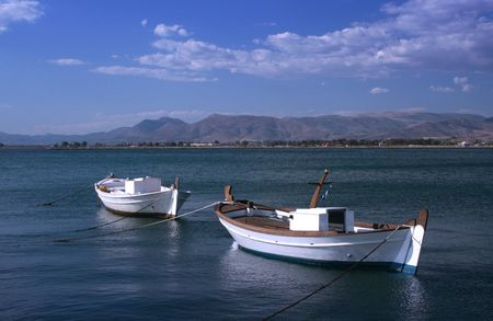nauplio: Traditional greek fishing boats  - Nauplio, Greece Stock Photo