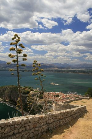 nauplio: View of Nauplio and Fort bourtzi from fort Palamidi.  Palamidi is a military fortress to the east of  the town of N�fplio in the Peloponnese region of southern Greece