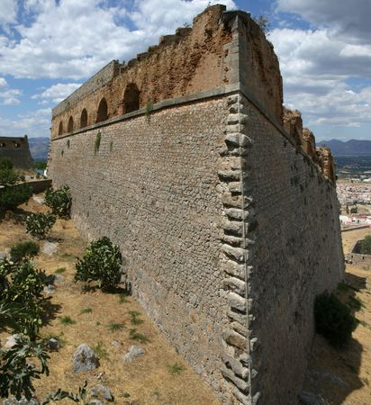 military watch: Palamidi is a military fortress to the east of  the town of Nafplio in the Peloponnese region of southern Greece.