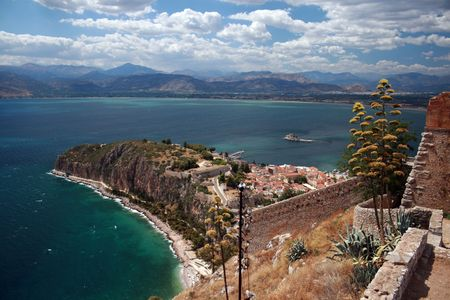 nauplio: View of Akronaufplia, Nafplio, and fort Bourtzi from fort Palamidi - Greece
