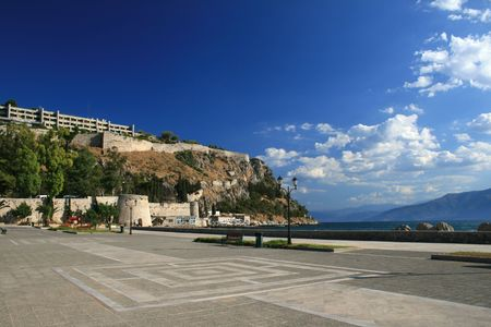 nauplio: View of the old fortifications of Nauplio and beach promenade - Greece