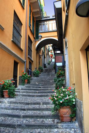 A narrow alleyway at the town of Bellagio, Lake Como, Italy