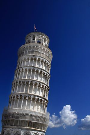 View from below of the world famous leaning tower of Pisa, Italy