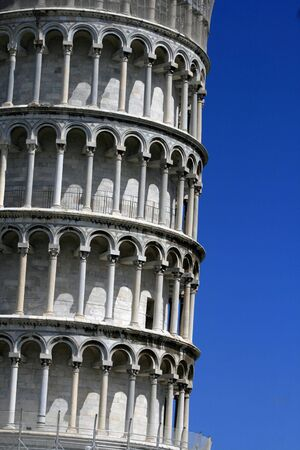 Detail of the  world famous leaning tower of Pisa, Italy