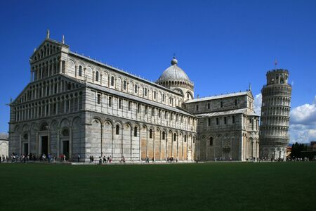 Piazza del Duomo  and further back the world famous leaning tower of Pisa, Italy