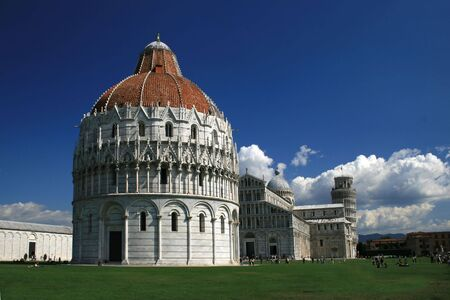 Piazza del Duomo  and further back the world famous leaning tower of Pisa, Italy Stock Photo - 3665246
