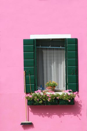 Brightly painted pink wall and window with a flower pot in Burano Island, near Venice, Italy