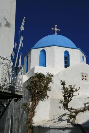 Greece - Traditional greek orthodox church at the popular island of Paros Stock Photo