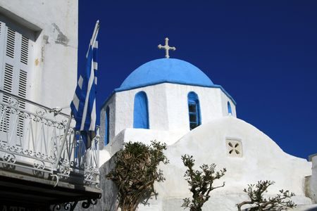 Traditional greek orthodox church at the island of Paros Greece Stock Photo