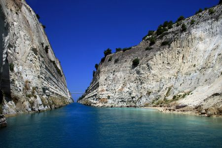 Greece.  View midway along the Corinth Canal