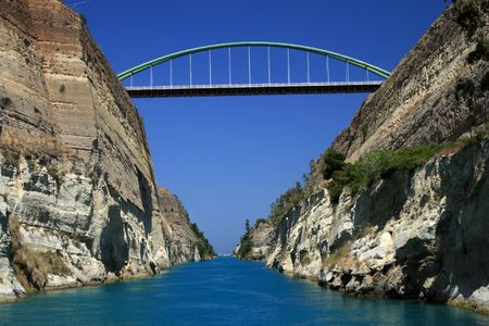 Greece. Bridge over the Corinth canal connecting the Aegean with Ionian seas.