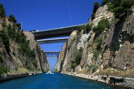 Greece. Bridges over the Corinth canal connecting the Aegean with Ionian seas.