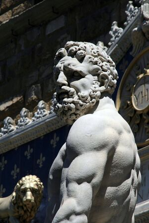 Detail from Neptune fountain in Florence Italy  Stock Photo