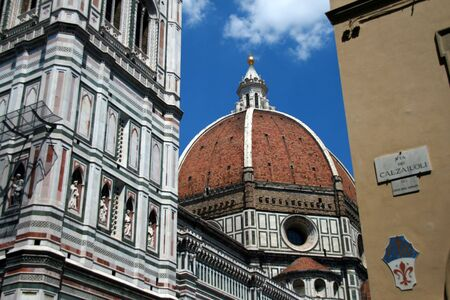The dome of the cathedral Santa Maria del Fiore known as the Duomo  in Florence, Italy