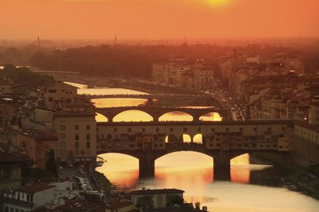 View of  the Arno river in Florence, Italy