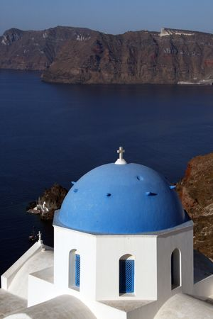 Greek island of Santorini.  View of a Oia churches. Greece Stock Photo