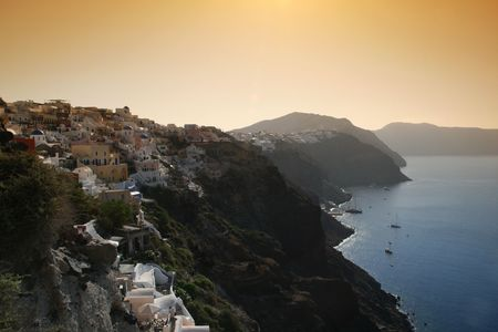 Greek island of Santorini.  Greece.  Viewof house and churches  of the town of Oia