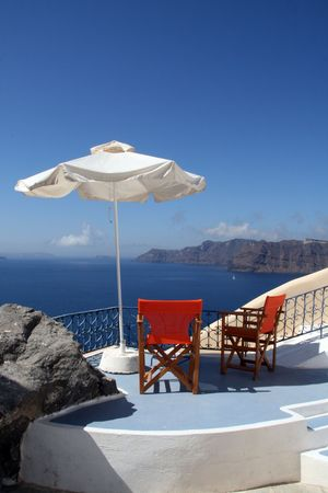 Greece, Santorini island.  View to the sea from a Greek home Stock Photo