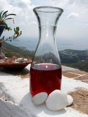 Red wine, Greece, Island background