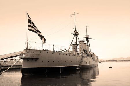 Black and white photo of a world war one greek flagship in Athens, Greece