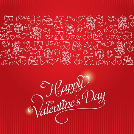 Hand drawing Romantic pattern for valentines day with cupid, heart, love letter, key from the heart, etc