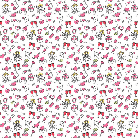 Beautiful hand drawing elements on a transparent background. Hand drawing seamless pattern for valentines day with cupid, heart, love letter, key from the heart, etc