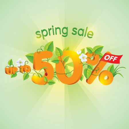 Season spring sale up to fifty percent off. Lettering design with floral elements.