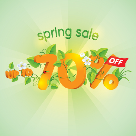 Season spring sale up to seventy percent off. Lettering design with floral elements. Иллюстрация