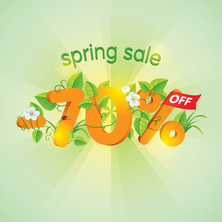 Season spring sale seventy percent off. Lettering design with floral elements.