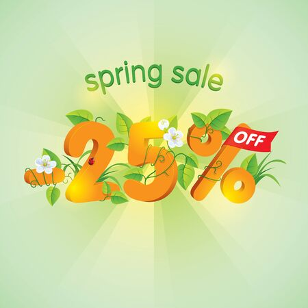 Season spring sale twenty-five percent off. Lettering design with floral elements.