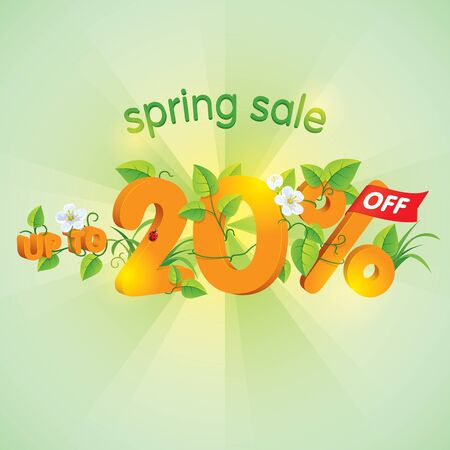 Season spring sale up to twenty percent off. Lettering design with floral elements.
