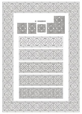 fretwork: ornament, knot, stonemason, carving, fretwork, engrave, border