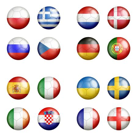 UEFA euro 2012 all groups a flags on soccerballs - isolated  photo