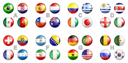 Flags on soccer balls isolated photo