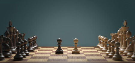 politic: White pawn vs dark pawn Stock Photo