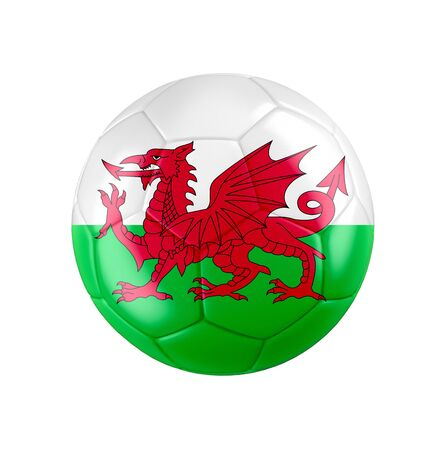 Soccer football ball with flag of Wales
