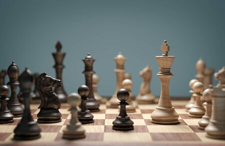 Two chess armies on the wooden chessboard. Stok Fotoğraf