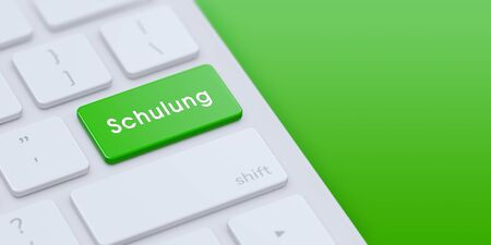 Modern keyboard with Green Schulung key and copy space. 3d illustration. Stock Photo