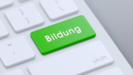 Modern keyboard with green Bildung key and copy space. 3d illustration.