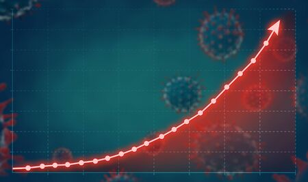Coronavirus or COVID-19 spreading concept with growth graph.