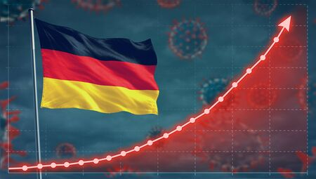 Coronavirus COVID-19 in Germany cases growing Concept with the national flag.