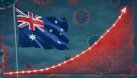 Coronavirus COVID-19 in Australia cases growing Concept with the national flag.
