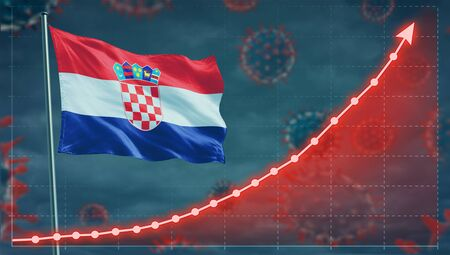 Coronavirus COVID-19 in Croatia cases growing Concept with the national flag. Stock Photo