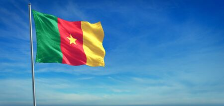 The National flag of Cameroon blowing in the wind in front of a clear blue sky Imagens